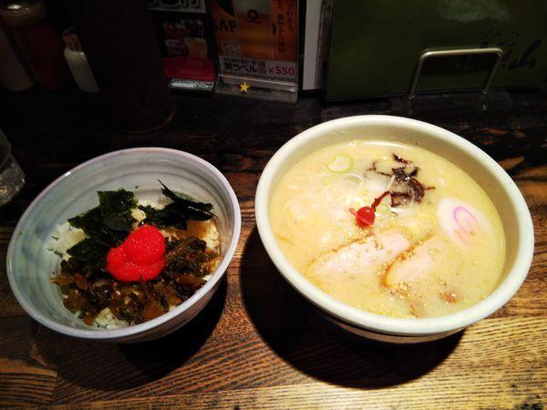 「しおらーめんと明太高菜ごはん」@らーめん 山頭火 原宿店の写真