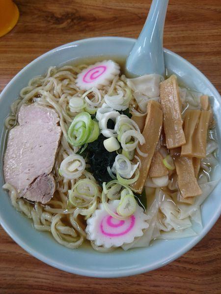 「ワンタンメン 600円」@手打ちらーめん ふく屋食堂の写真