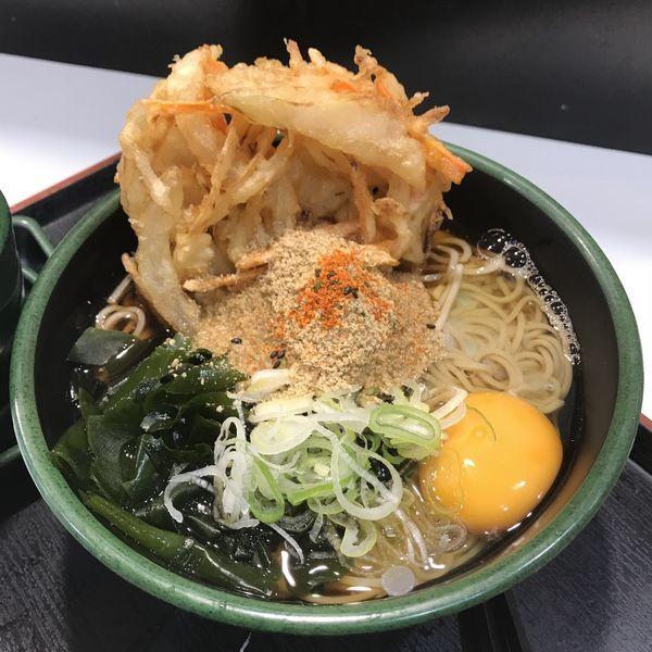 「朝そば(玉子)(¥330)+かき揚げ(クーポン)」@ゆで太郎 竹橋店の写真