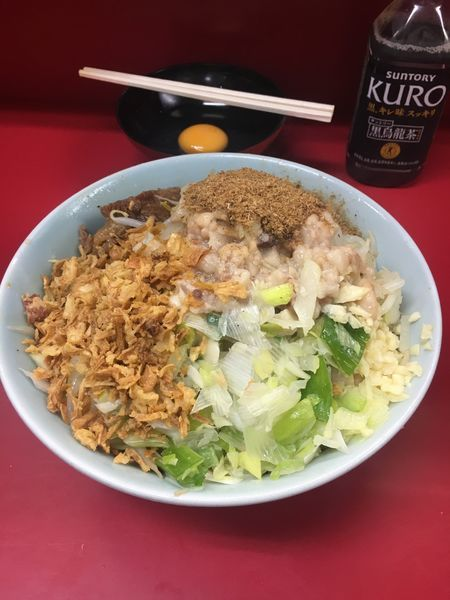 「小ラーメン 汁なし 玉子➕魚粉 ニンニク➕アブラ」@ラーメン二郎 中山駅前店の写真