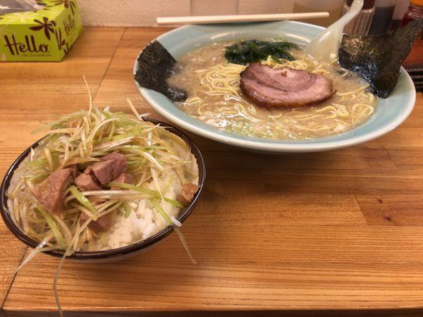 「醤油ラーメン+ネギ丼」@ラーメンショップ 深谷川本店の写真