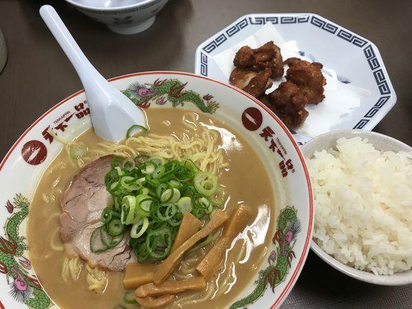 「唐揚げ定食 大盛 麺硬め」@天下一品 錦糸町店の写真