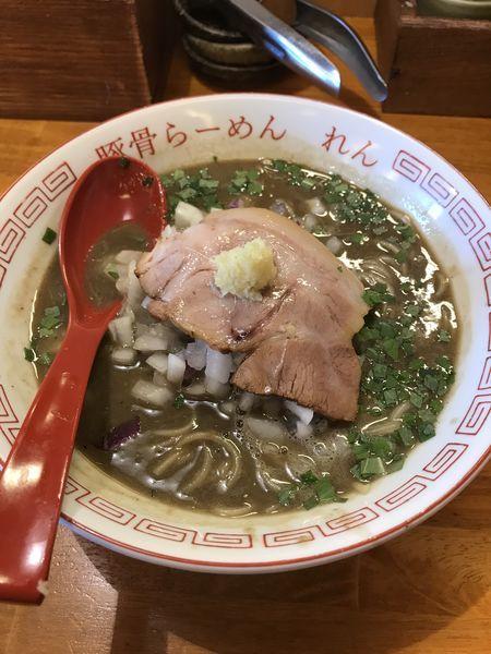 「元祖イカニボシラーメン+替玉(¥850+¥110)」@豚骨らーめん れんの写真