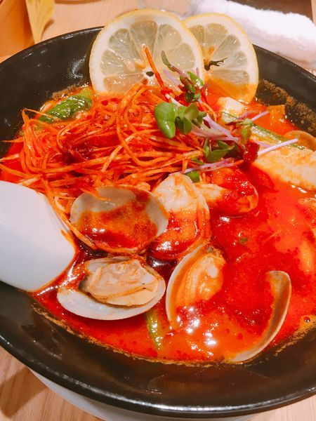 「海鮮ジョロキア麺」@太陽のトマト麺 元住吉支店の写真