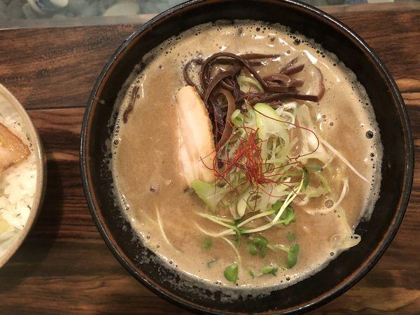 「濃厚鶏白湯らぁ麺+煮干しラーメン」@トリイザカヤ コヤ麺の写真