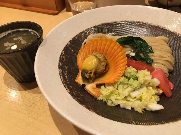 「限定 季節の野菜と貝のつけそば」@潮くろ㐂の写真