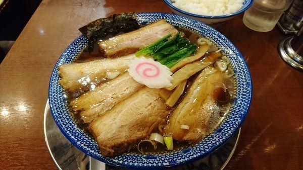 「ちゃーしゅうめん+大盛り+肉餃子+大ライス」@ちゃーしゅうや武蔵 イオンモール日の出店の写真