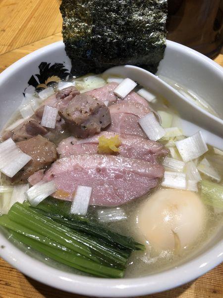 「特製鴨中華そば(塩)+大盛+鴨雑炊丼(小)」@満鶏軒の写真
