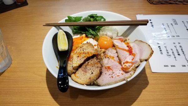 「混ぜそば(煮干ベース)+チャーシュー+追い飯」@MOJA☆MOJAの写真