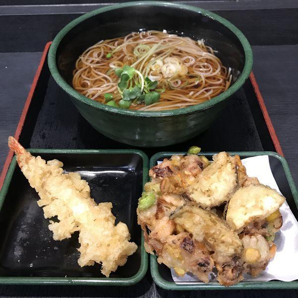 「【季節限定】夏野菜とゲソのかきあげ(¥0)+海老天(クーポン」@ゆで太郎 西五反田2丁目店の写真