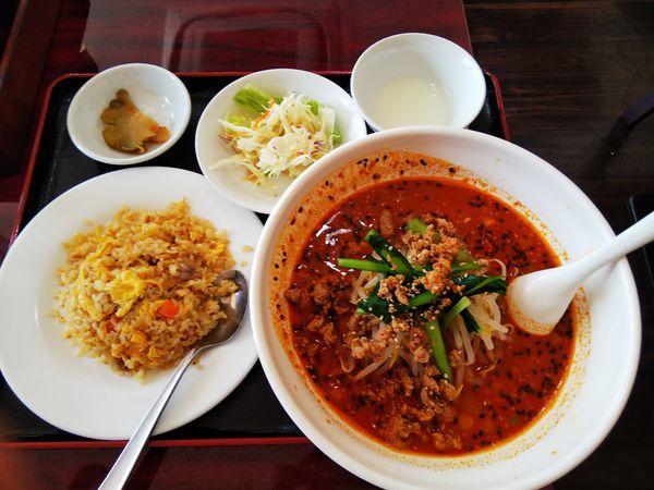 「担々麺半チャーハン定食」@桂香楼の写真
