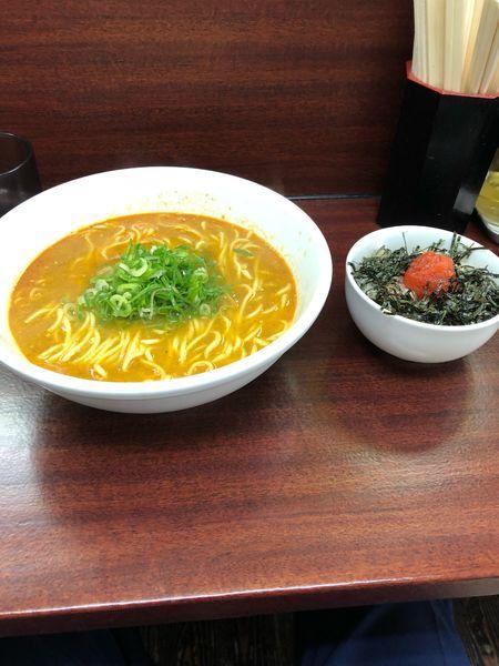 「朝 C 担々麺 明太子ライス700円」@麺屋 民のかまどの写真
