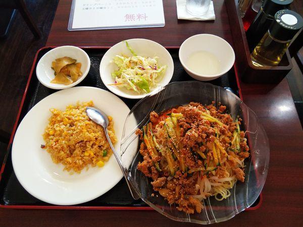 「冷し担々麺・半チャーハン定食」@桂香楼の写真