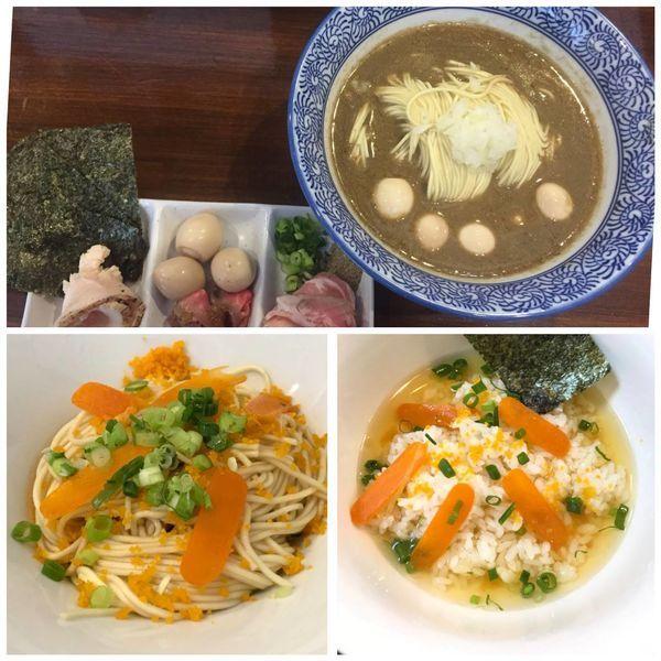 「MAD煮干し中華蕎麦+カラスミ和え玉+カラスミ茶漬け」@煮干し中華蕎麦 山崎の写真