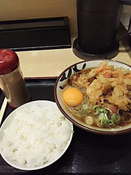 「天玉そば&ご飯」@そばよし 本店の写真