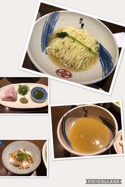 「【限定】薬涼潮つけそば900円、鴨しぐれ煮冷や飯100円」@麺や 虎徹の写真
