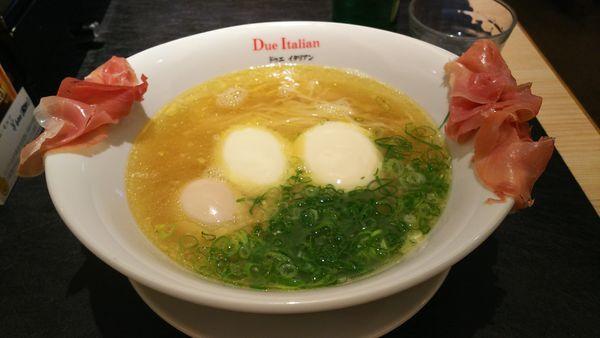 「らぁ麺生ハムフロマージュ  1,270円」@黄金の塩らぁ麺 due Italian 横浜の写真