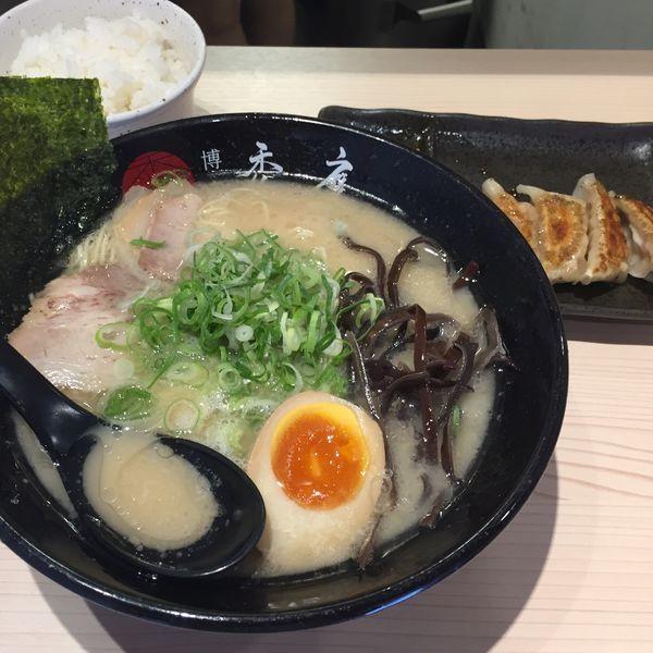 「餃子セット 880円  クーポン半味玉」@博多禿鷹の写真