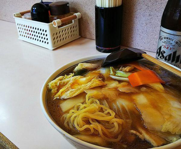 「うまにそば(700円)+アサヒSD」@山田屋の写真