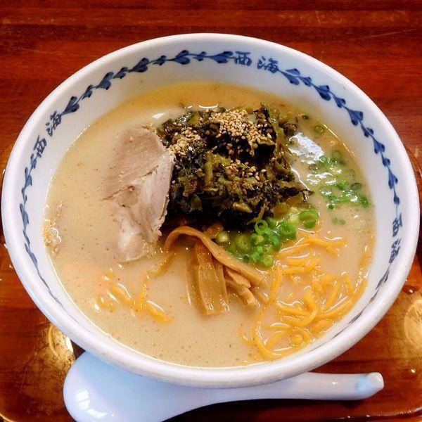 「高菜らーめん(赤麺 税別 500円)」@らーめん 西海 八王子みなみ野店の写真