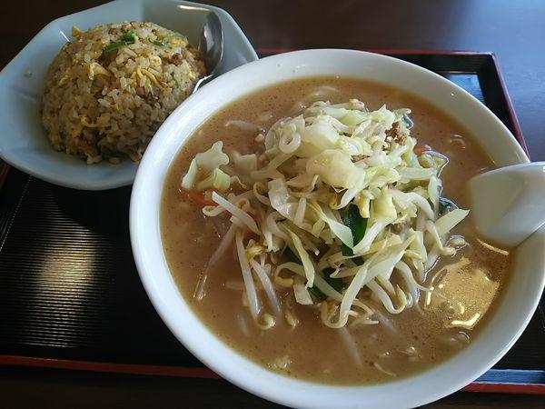 「【限定】野菜味噌ラーメン+半炒飯 ※コーヒー1杯無料」@中国料理 竹園の写真