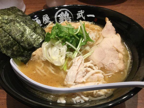 「濃厚鶏骨醤油そば780円」@濃厚鶏そば 麺屋武一 北千住店の写真