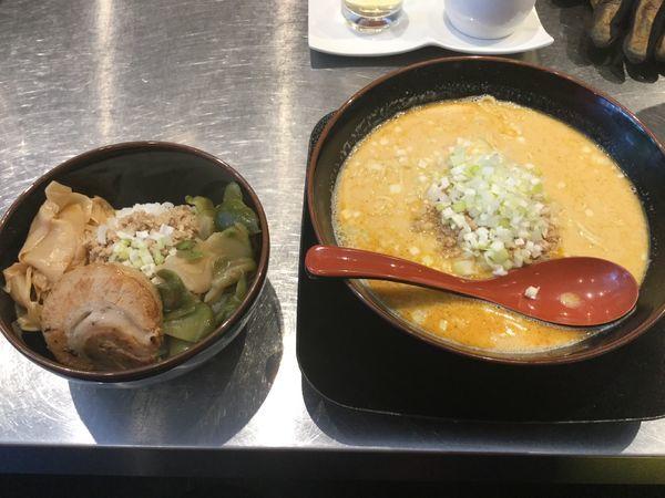 「担々麺そぼろ御飯セット ¥1100-」@高崎はた山の写真