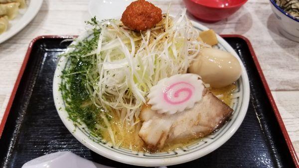 「からし味噌ねぎらーめん 味玉トッピング」@ちゃーしゅうや武蔵 イオン南松本店の写真