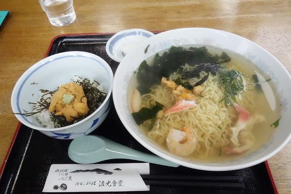 「磯らーめん+ミニ生うに丼」@波光食堂の写真