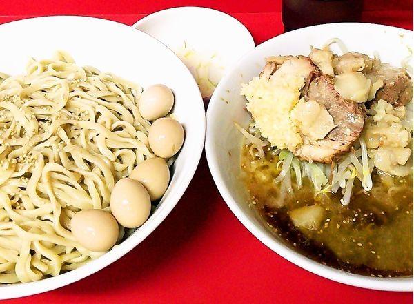 「小つけ麺+玉ねぎ+うずらの卵」@ラーメン二郎 茨城守谷店の写真