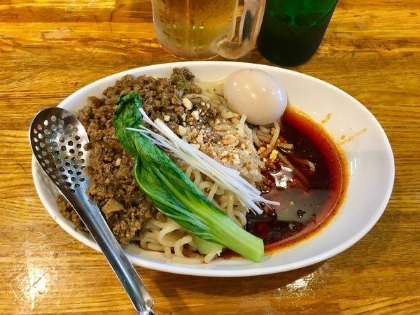 「成都式担々麺(汁無し)980円+味玉 150円」@Dandan spicy noodlesの写真