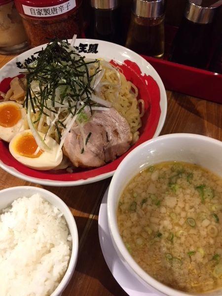 「つけ麺(中)780円 サービスライス付き」@麺や 天鳳 中野坂上店の写真