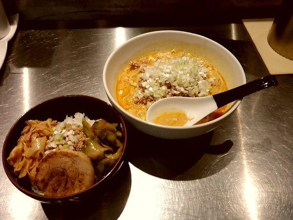 「冷し担担麺+そぼろご飯1,200円」@高崎はた山の写真