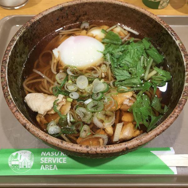 「那須鶏と御養卵の親子鶏そば(¥700)」@那須高原サービスエリア上り線フードコートの写真