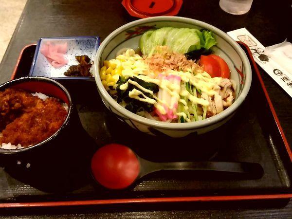 「サラダうどんセット(サラダうどん+ミニソースかつ)950円」@登利平 高崎モントレー店の写真