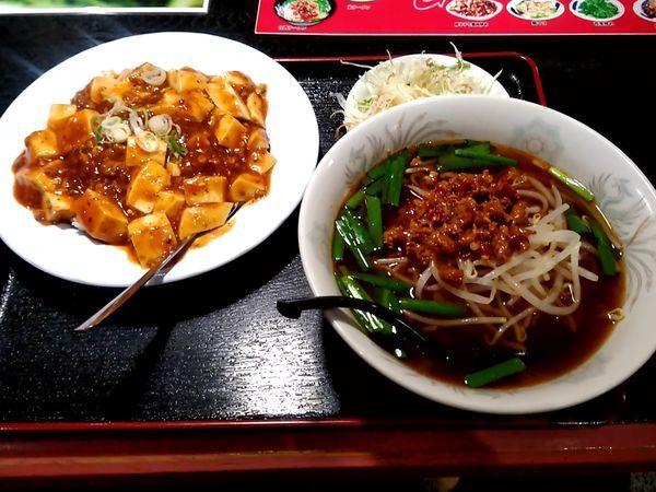 「ラーメンセット(台湾ラーメン+麻婆飯)680円」@中華料理 同源 高崎店の写真