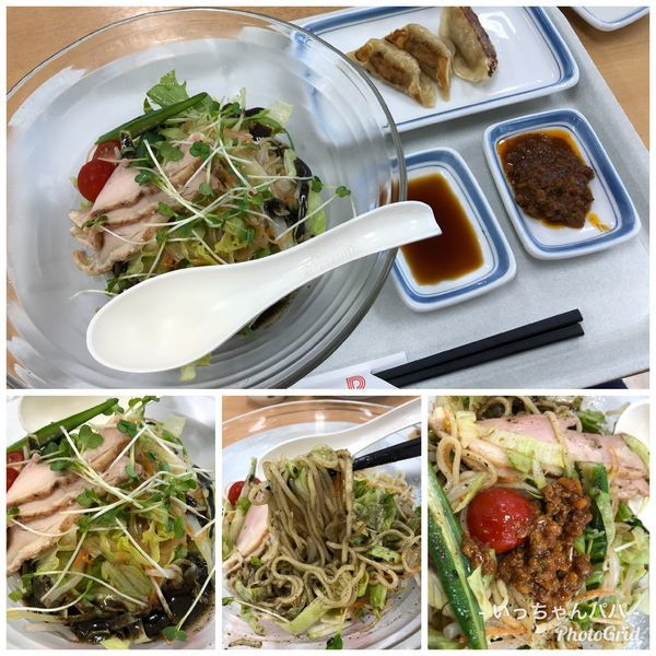 「冷やしまぜ麺 黒 ミニ餃子3個セット+肉味噌 896円」@リンガーハット イトーヨーカドー上福岡東店の写真