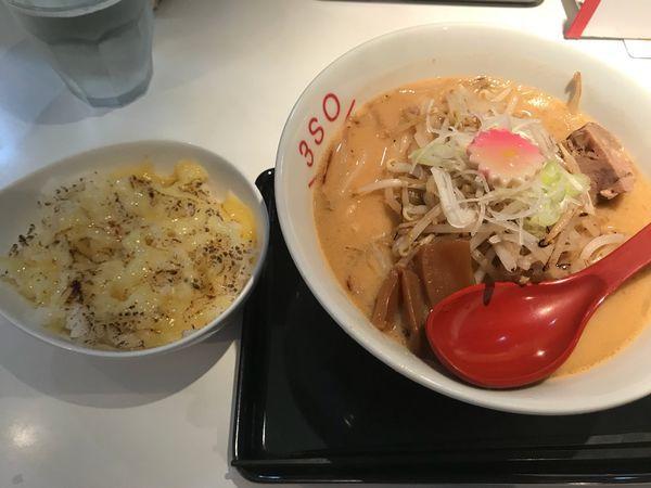 「3SOらーめん大盛830円 炙りチーズご飯200円」@RA-MEN 3SOの写真