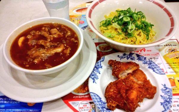 「肉盛りつけ麺 柚子風味・海南からあげセット」@バーミヤン みなとみらい店の写真