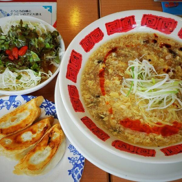 「酸辣湯麺+餃子・サラダセット 970円」@バーミヤン 佐原東店の写真