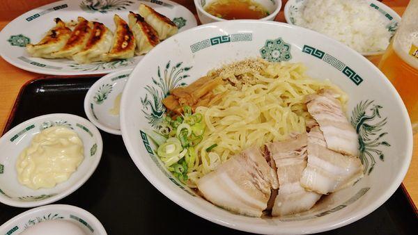 「汁なしラーメン+大盛り+餃子+他」@日高屋 昭島南口店の写真