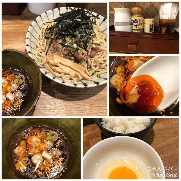「鰹出汁の冷やし肉そば 880円 玉子掛けご飯無料」@麺屋ぬかじの写真