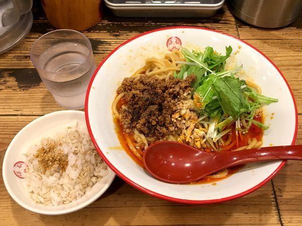 「[限定]汁なし担々麺 + 割り飯」@つけ麺専門店 三田製麺所 田町本店の写真