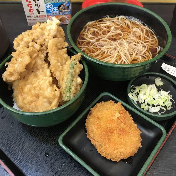 「得セット(¥550)+コロッケ(クーポン)」@ゆで太郎 代々木東口店の写真