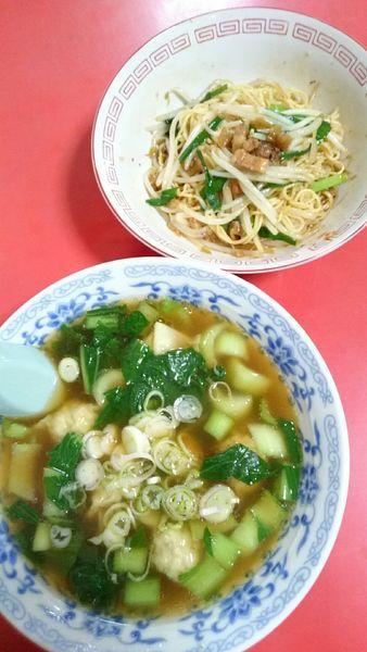 「乾麺   600円   +  餛飩湯   600円」@來來の写真