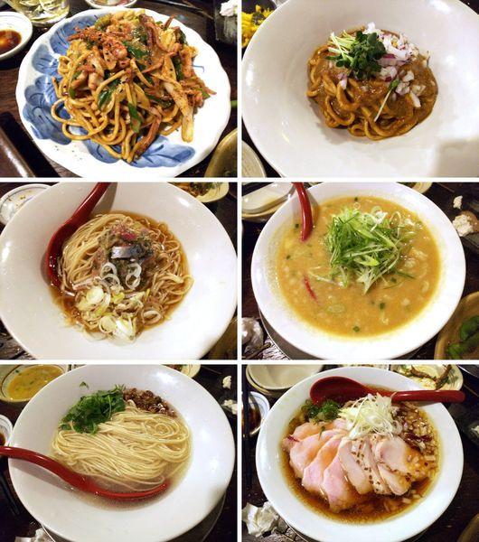 「秋刀魚のなめろうそば・鶏と豚と浅利そば・中華そばなど6種」@立ち呑み居酒屋 金町製麺の写真