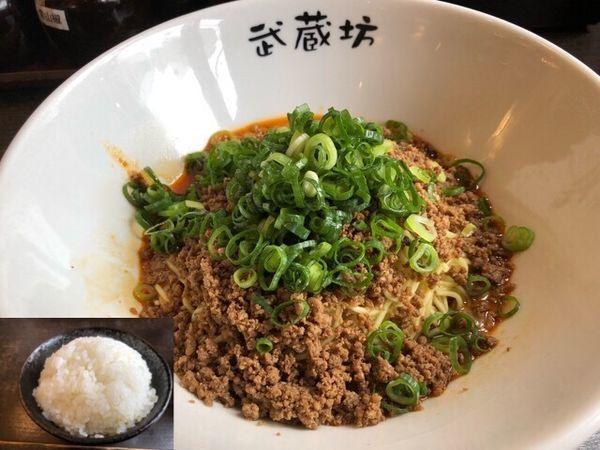 「担々麺(ごま)600円、肉増し100円、ライス100円」@汁なし担担麺 武蔵坊の写真