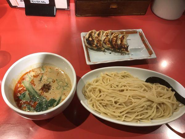 「坦々つけ麺 + 餃子」@つけめん工房 浅草製麺所の写真