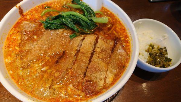「排骨担々麺、サービスライス」@らーめん 亜寿加の写真