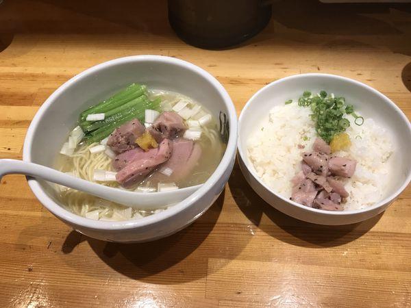 「鴨中華そば(塩)雑炊セット」@満鶏軒の写真